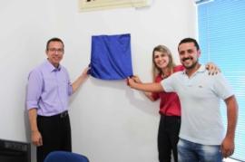 Inauguração do Sebrae Aqui Potirendaba, em 2016. Na foto, Marcos José Amancio (Gerente Regional do Sebrae-SP), Gislaine Montanari Franzotti (Prefeita de Potirendaba - Gestão 2009-2016) e Renato Maluf Fernandes (Presidente da ACIP - Biênio 2015/2016).